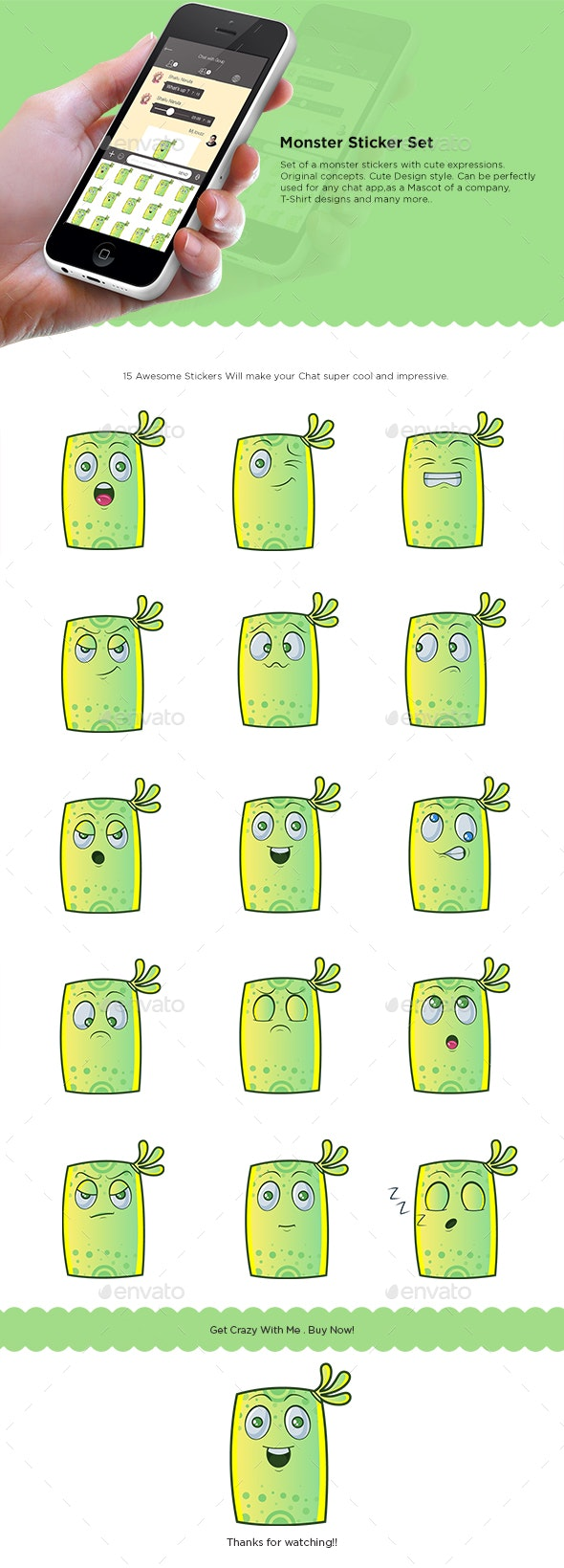 Green Monster Sticker Set - Miscellaneous Characters