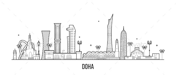 Doha Skyline Qatar City Buildings Vector Linear