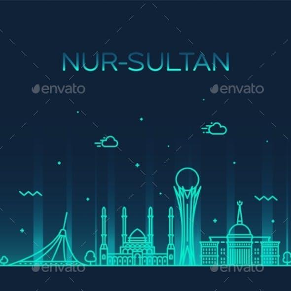 Nur-Sultan Astana Skyline Kazakhstan a Vector City
