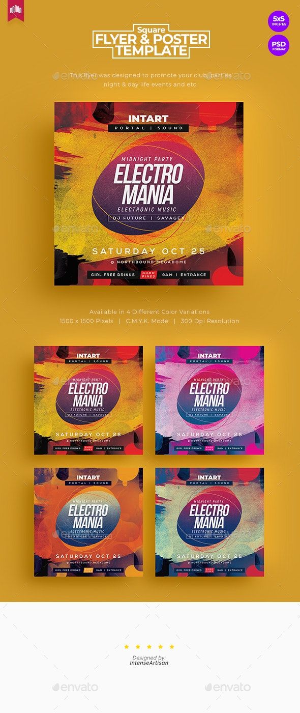 Electro Mania - Square Flyer - Clubs & Parties Events