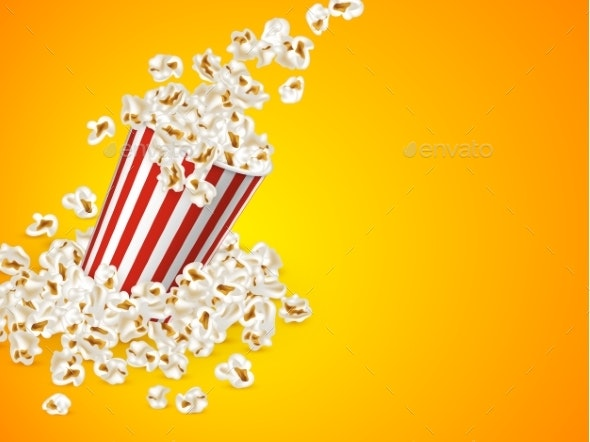 Full Striped Bucket with Falling Popcorn - Food Objects