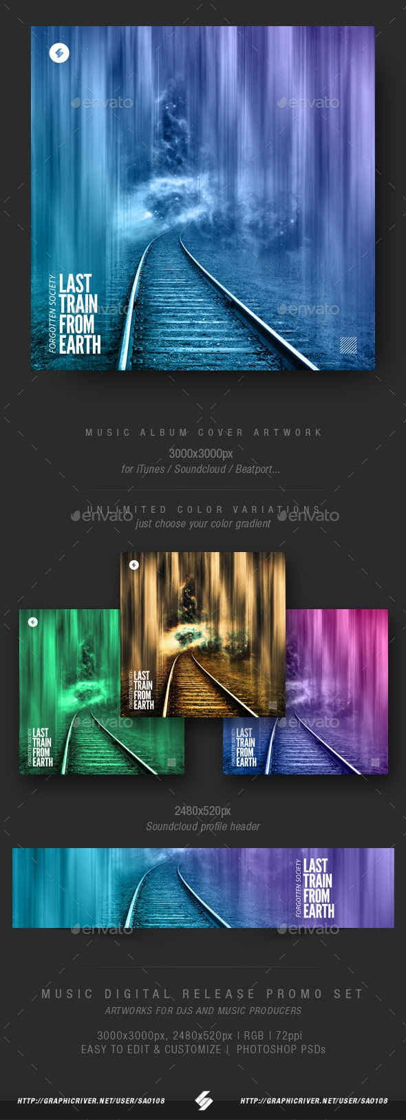 Last Train From Earth - Music Album Cover Artwork Template