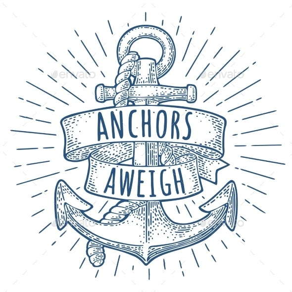 Anchor with Ribbon and Rope Isolated on White - Decorative Symbols Decorative