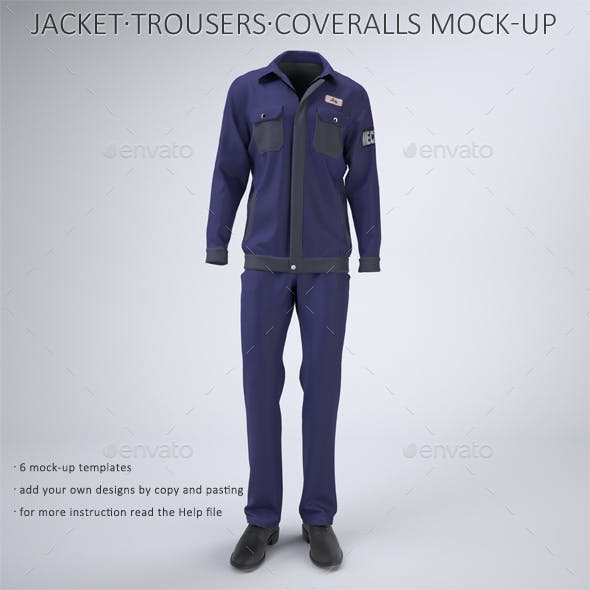 Mechanic Work Uniform with Jacket and Coveralls Mock-Up
