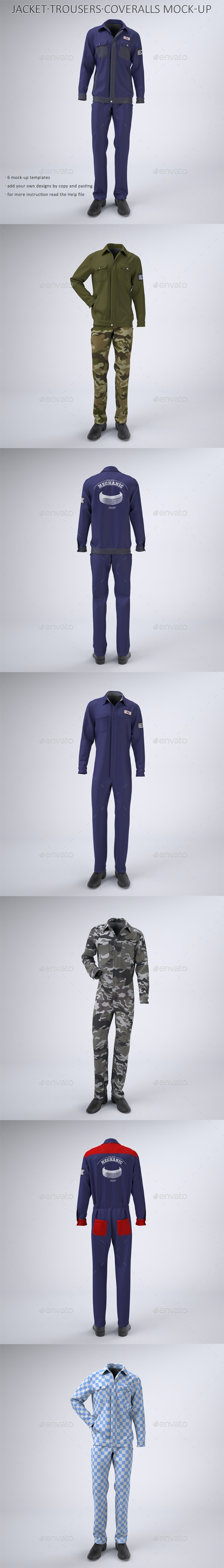 Mechanic Work Uniform with Jacket and Coveralls Mock-Up - Apparel Product Mock-Ups