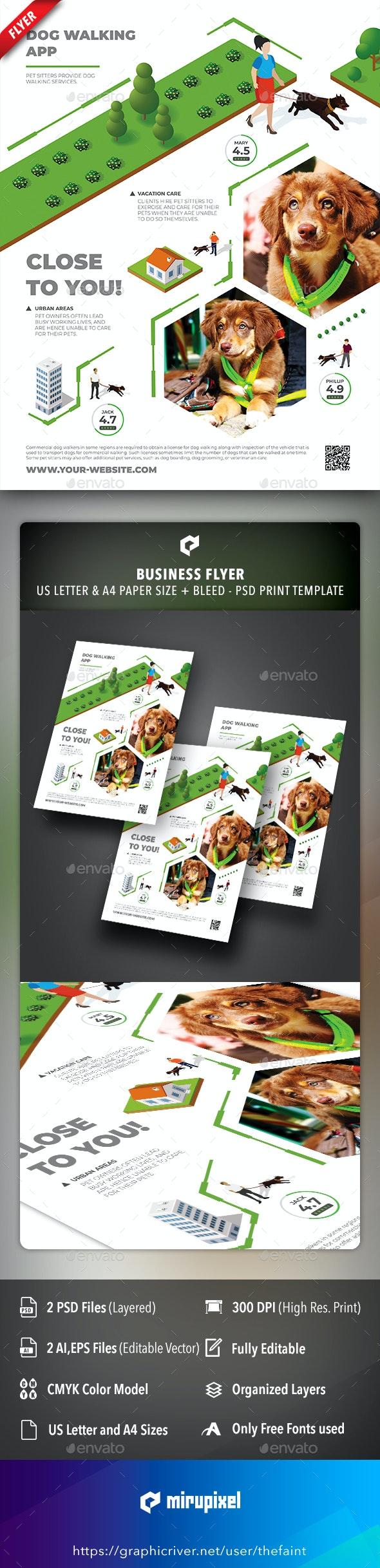 Dog Walking App Business Flyer - Commerce Flyers