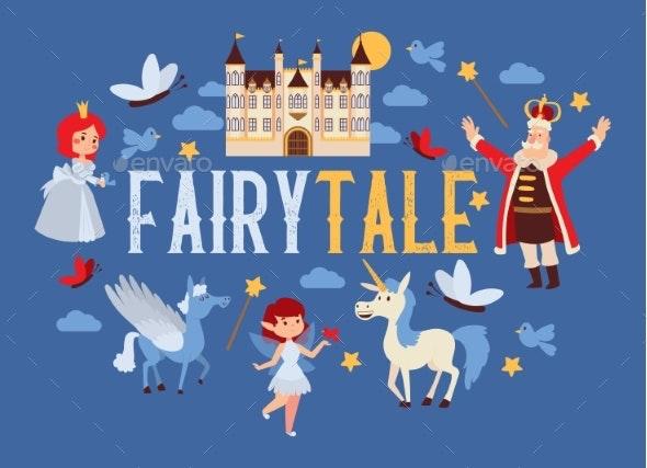 Fairy Tale Vector Cartoon Kingdom King Princess - Buildings Objects
