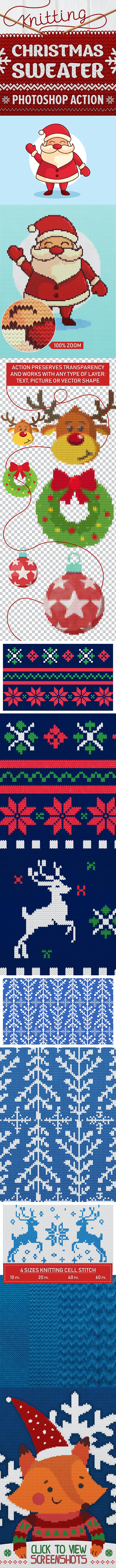 Knitted Christmas Sweater - Photoshop Actions - Utilities Actions