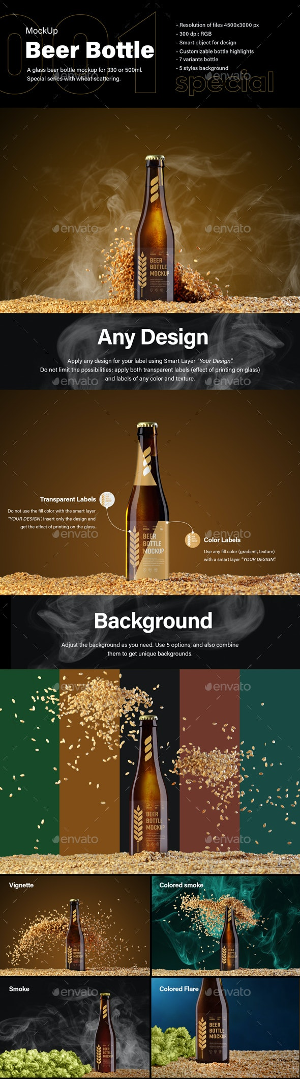 7 MockUps of Glass Beer Bottle With Flying Wheat - Product Mock-Ups Graphics