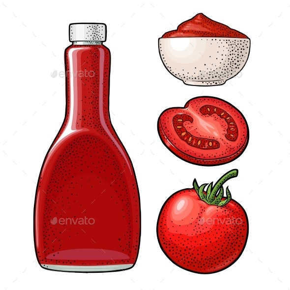 Ketchup Bottle and Tomato Sauce - Food Objects