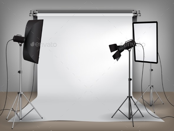 Realistic Photo Studio Set Up with Lighting - Buildings Objects