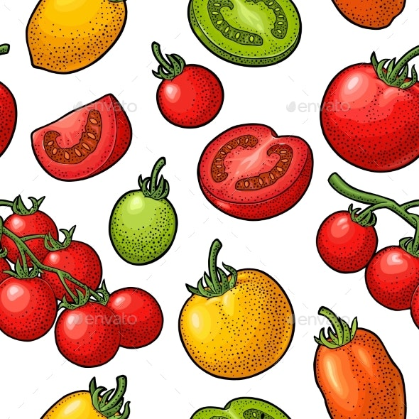 Seamless Pattern with Fruits and Vegetables - Patterns Decorative