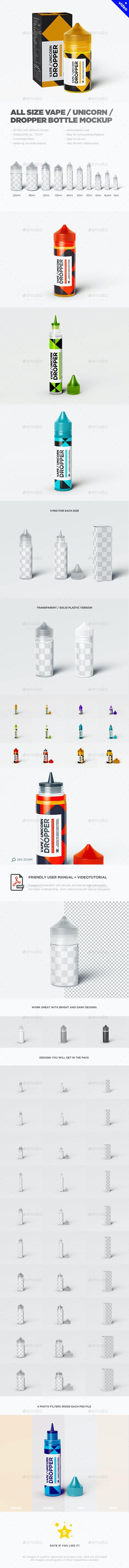 All Sizes Vape / Unicorn / Dropper Bottle MockUp - Miscellaneous Packaging