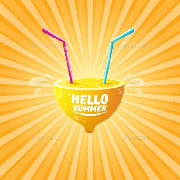 Vector Hello Summer Beach Party Flyer Design - Food Objects