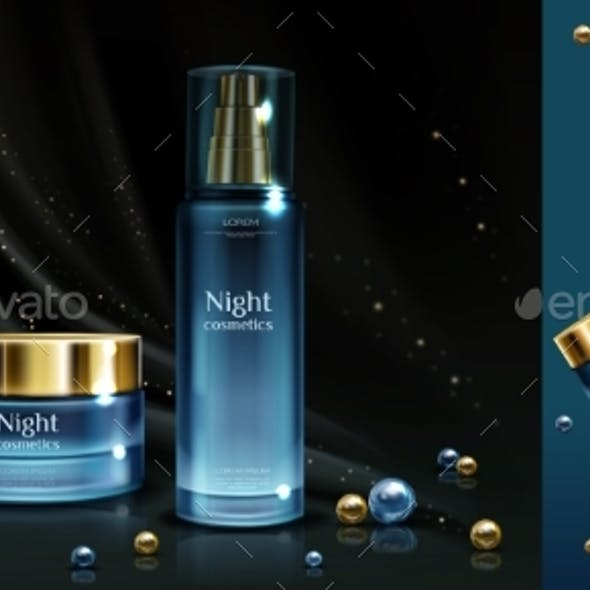 Night Cosmetics Beauty Cream and Serum Banner