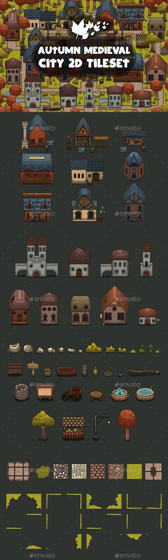 Autumn Medieval City Tile set - Tilesets Game Assets