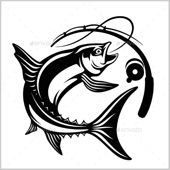 Fish with Fishing Rod in Monochrome Style - Animals Characters