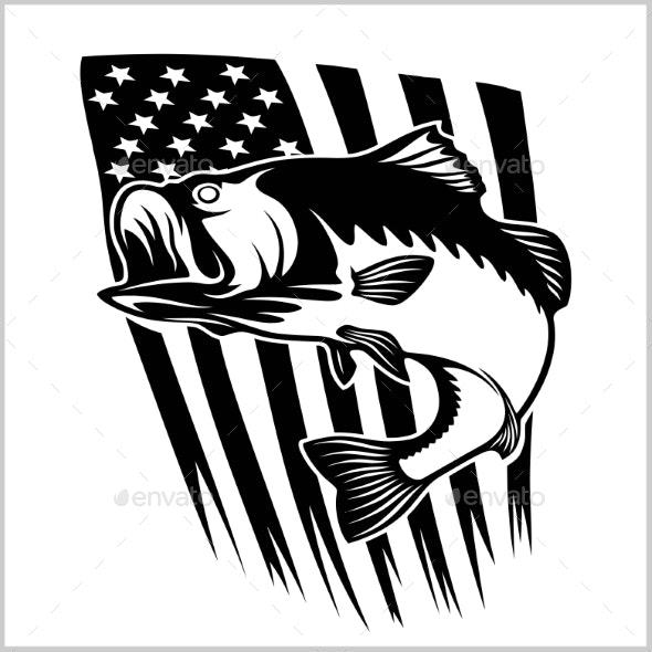Bass Fishing on USA Flag Vector Illustration - Miscellaneous Vectors