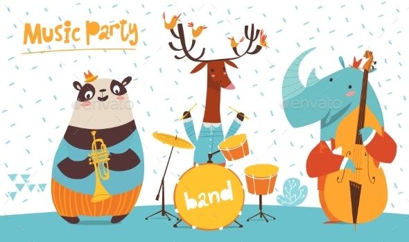 Christmas Party Vector Poster with Musicians - Animals Characters