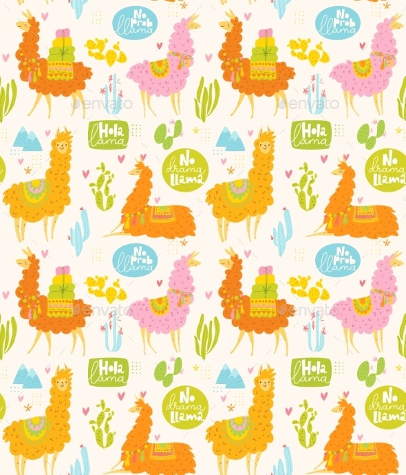 Vector Summer Seamless Pattern with Llamas - Animals Characters
