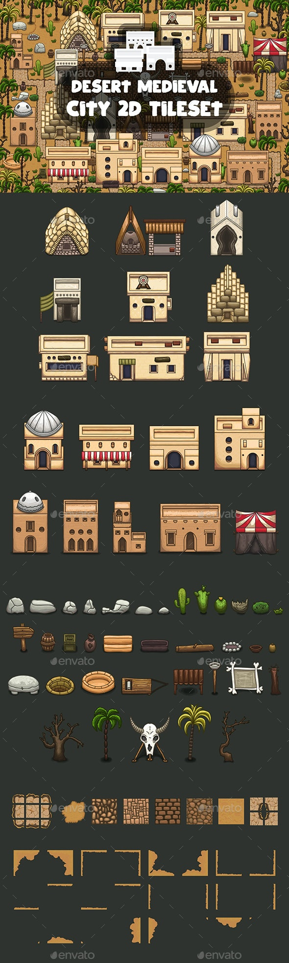 Desert Medieval City Tile set - Tilesets Game Assets