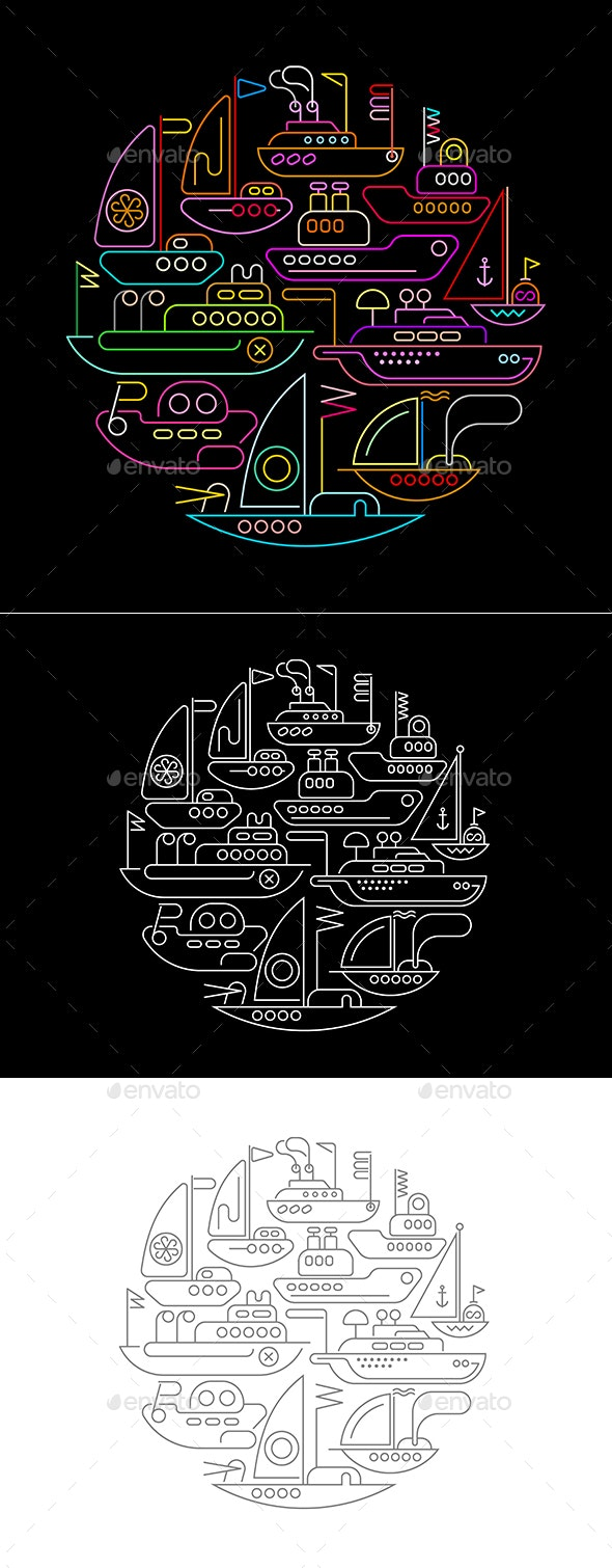 Ships and Boats Round Shape Neon Designs - Miscellaneous Vectors