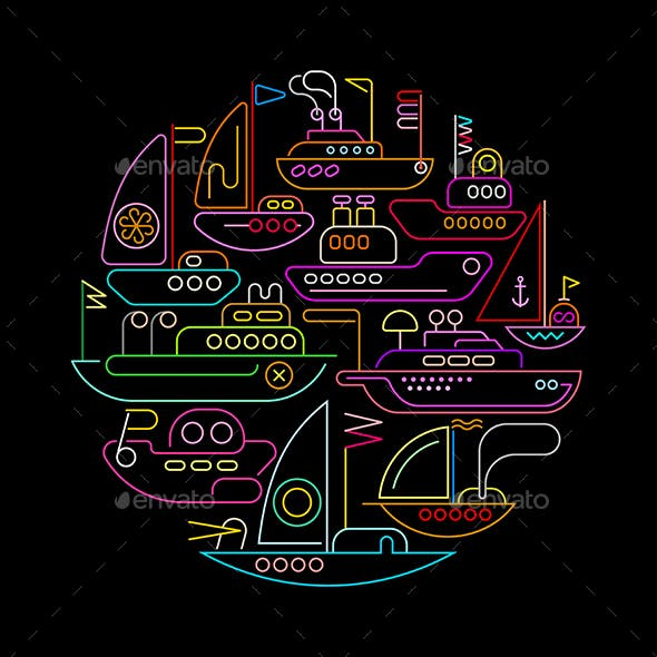Ships and Boats Round Shape Neon Designs