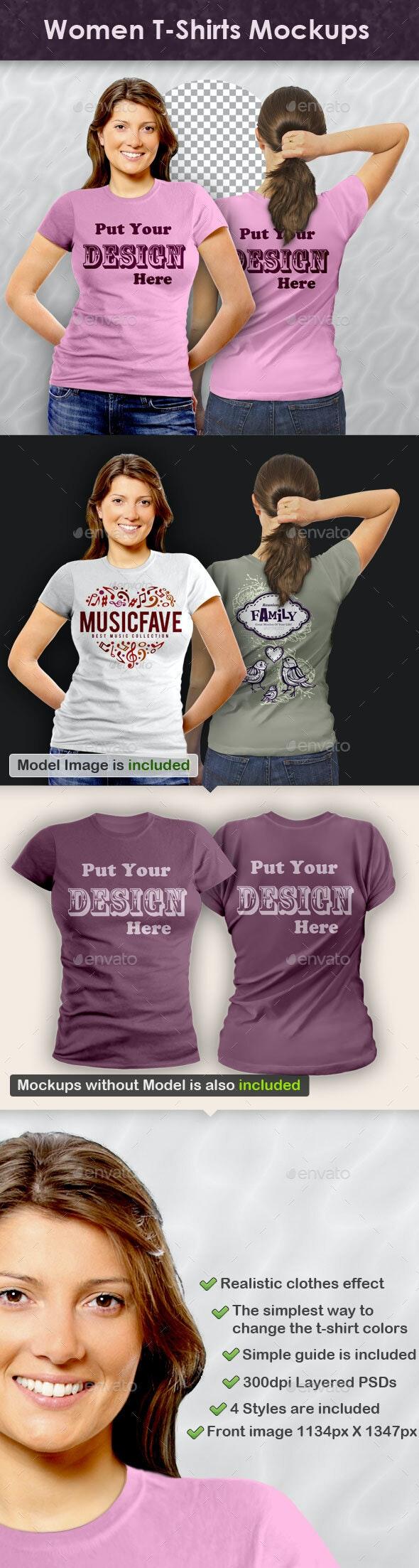 Women T-Shirts Mockups - T-shirts Apparel