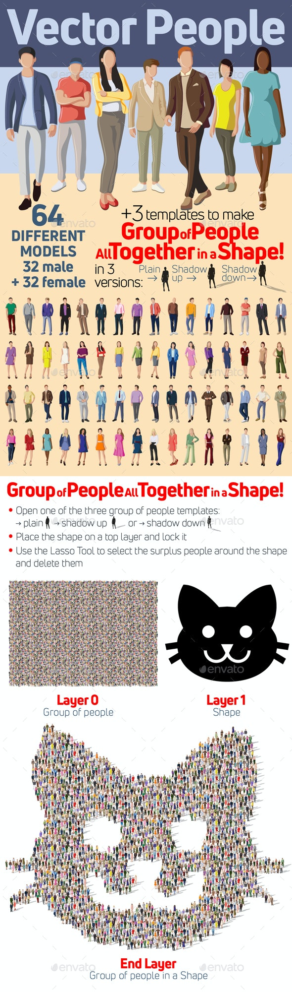 Vector People and People All Together in a Shape - People Characters