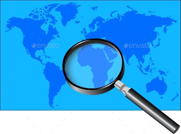 Magnifier and World Map - Backgrounds Decorative