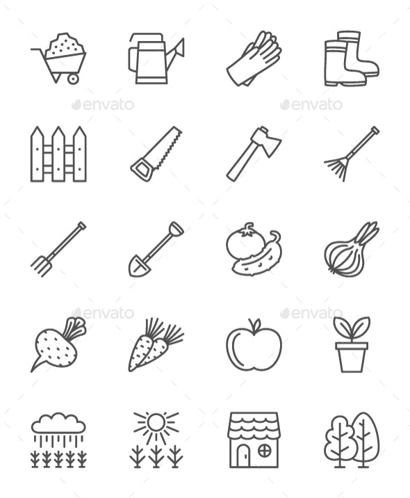 Set Of Gardening Line Icons. Pack Of 64x64 Pixel Icons - Objects Icons
