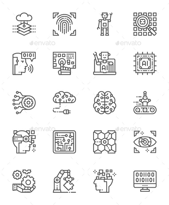 Set Of Artificial Intelligence Line Icons. Pack Of 64x64 Pixel Icons - Technology Icons