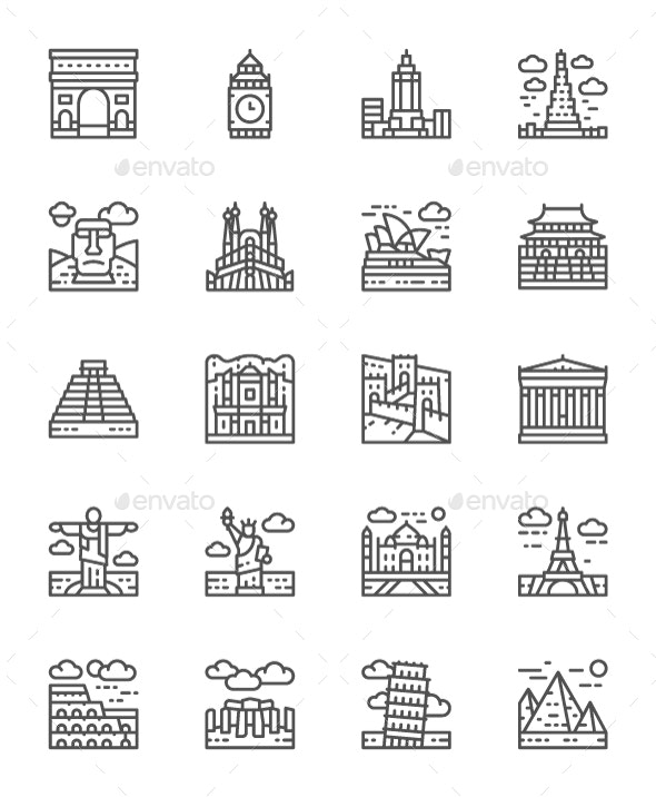 Set Of World Landmarks Line Icons. Pack Of 64x64 Pixel Icons - Buildings Objects