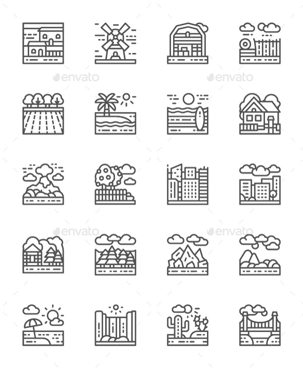 Set Of Landscape Line Icons. Pack Of 64x64 Pixel Icons - Objects Icons
