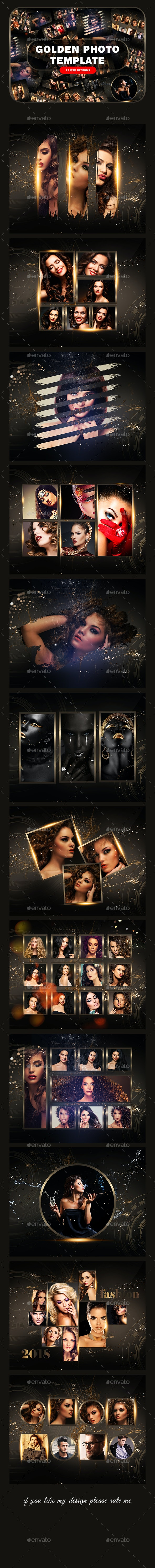 Golden Photo Frame Template - Photo Templates Graphics