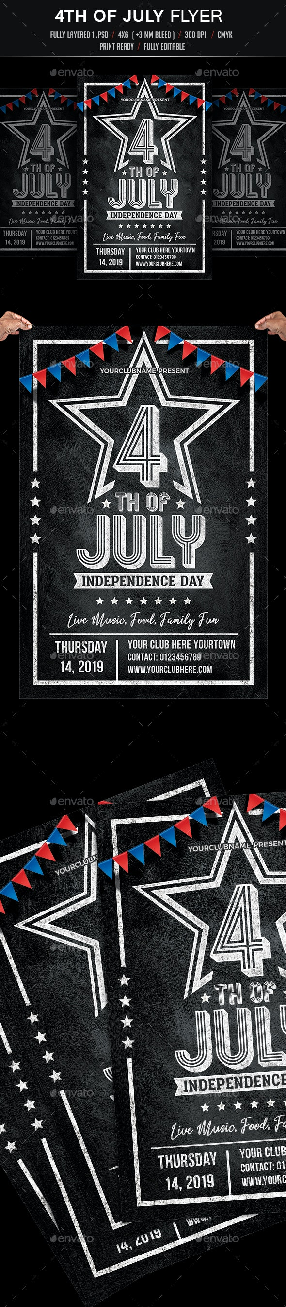 4th of July Chalk Flyer - Events Flyers