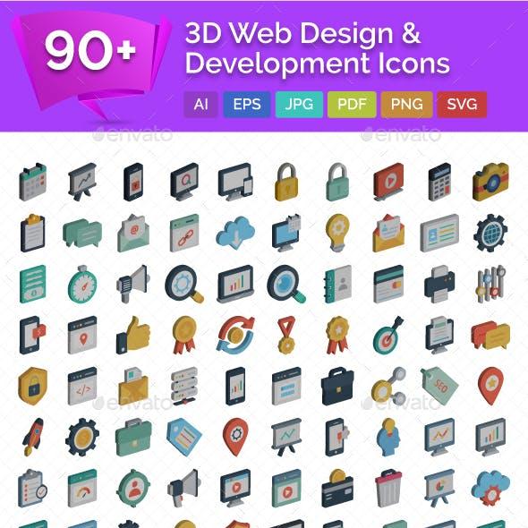 90+ 3D Web Design & Development Vector Icons
