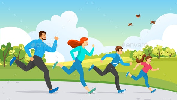 Happy Family Sport Activity. Running Exercise - Sports/Activity Conceptual