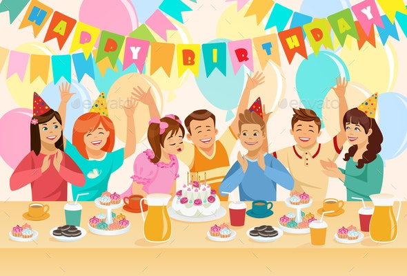 Group of Children Celebrating Happy Birthday. - People Characters