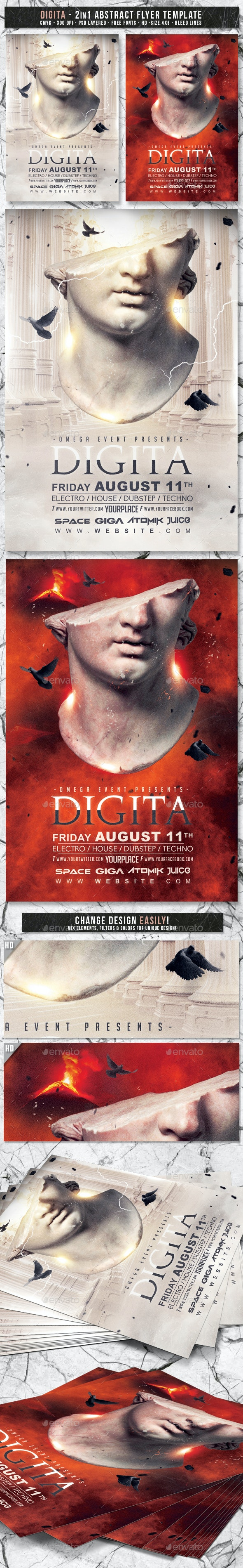 Digita | 2in1 Abstract Flyer Template - Events Flyers