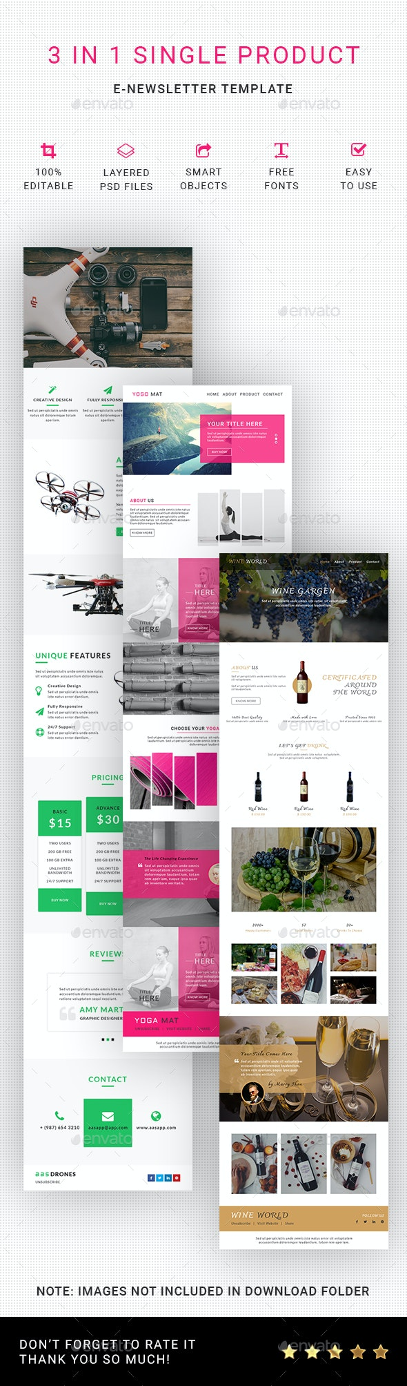 3 in 1 Single Product Email Template - E-newsletters Web Elements