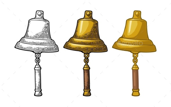 Bell From Sailing Ship Isolated White Background - Man-made Objects Objects
