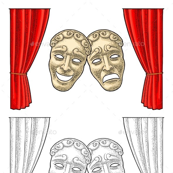 Comedy and Tragedy Theater Masks Vector Engraving