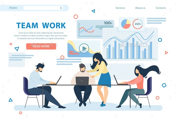 Team Work Horizontal Banner - People Characters