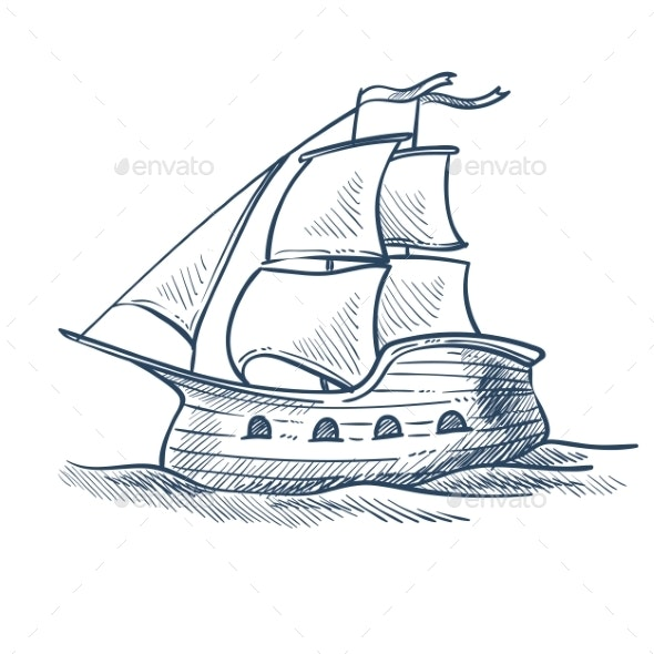 Ship Isolated Sketch Sailboat Sea Transport Voyage - Man-made Objects Objects