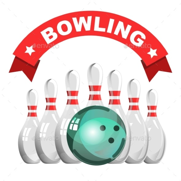 Bowling Game Club Isolated Icon Skittles and Ball - Miscellaneous Vectors