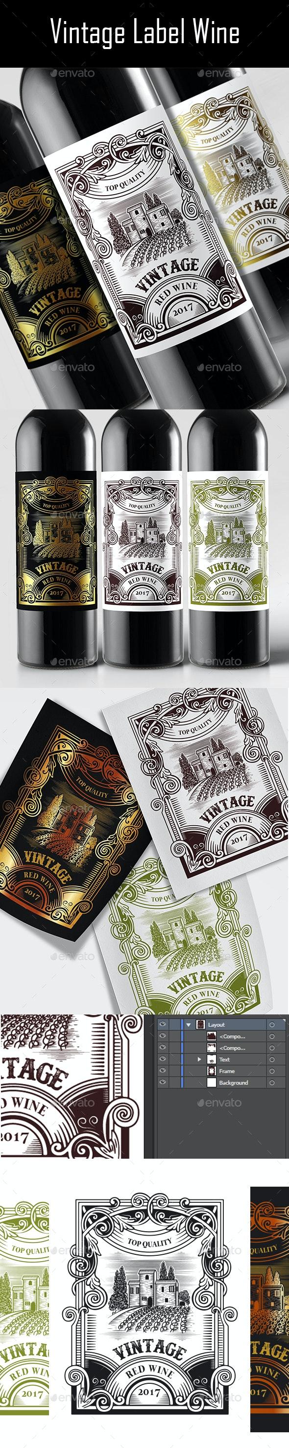 Vintage Label Wine - Packaging Print Templates