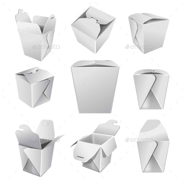 Chinese Food Box or Cardboard Pack Takeaway Meals - Man-made Objects Objects