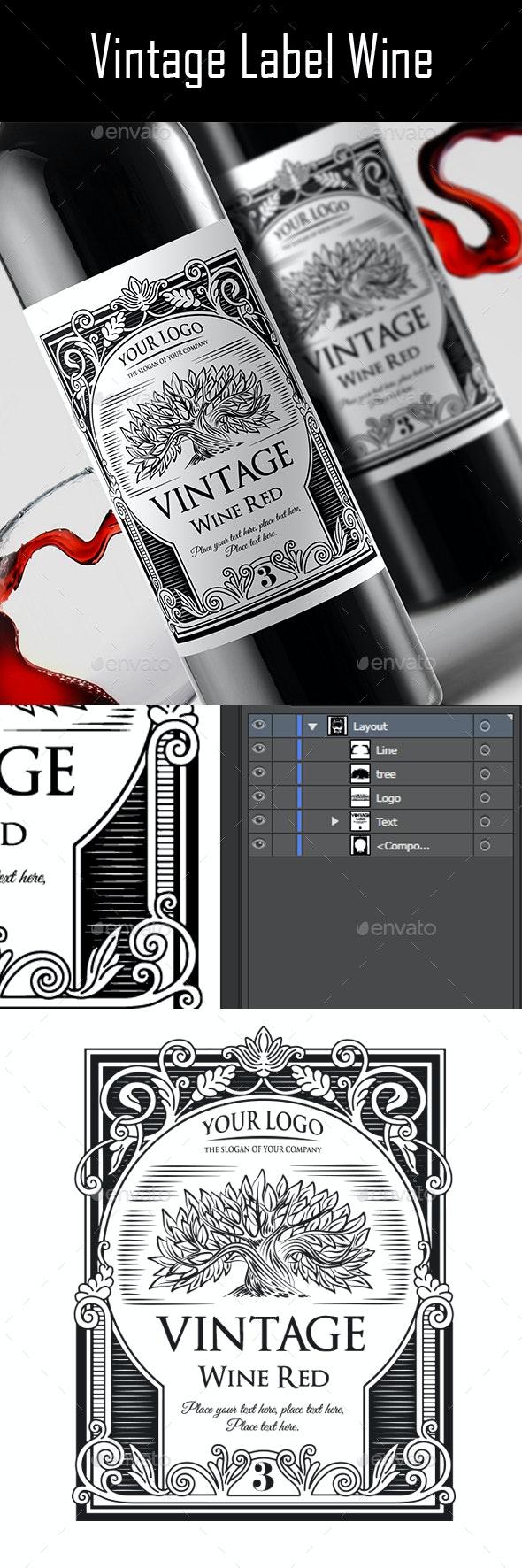 Vintage Label Wine v.2 - Packaging Print Templates