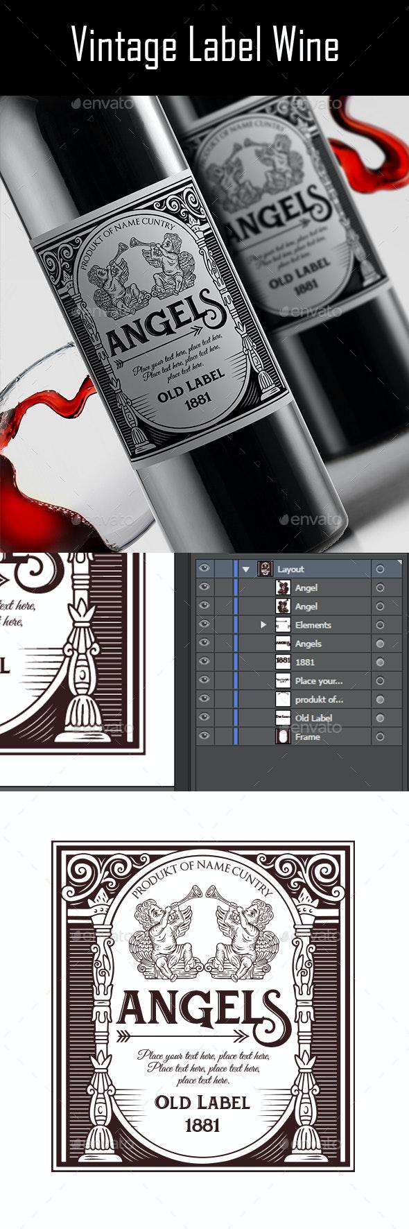 Vintage Label Wine v.3 - Packaging Print Templates